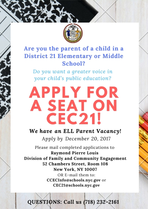 ELL Parent Vacancy